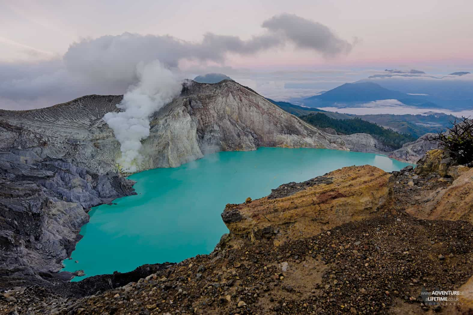 Majestic Ijen Blue Crater Lake in Java