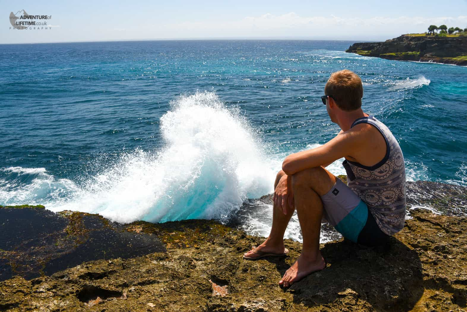 Michael watching the waves at Nusa Lembongan