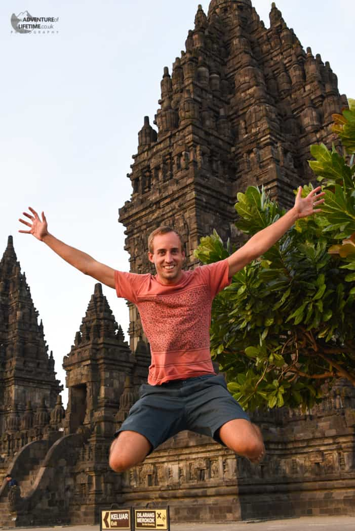 Michael at the Prambanan temple during Sunset