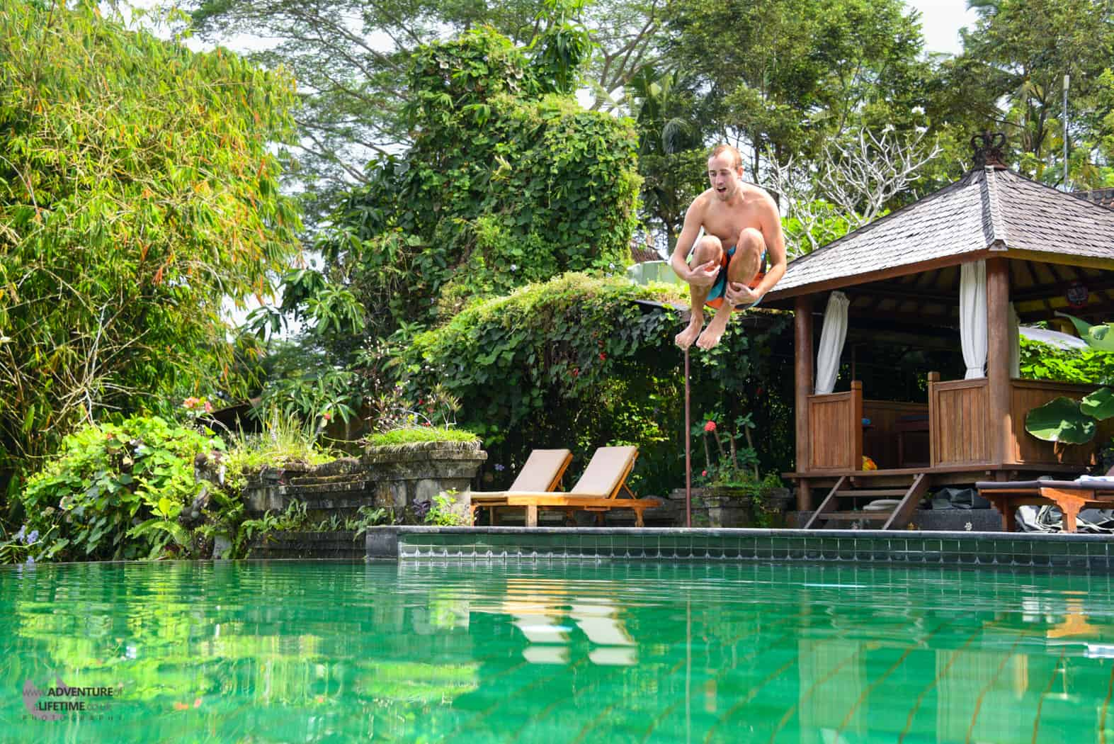 Michael Spoiling the Tranquil Pool in Ubud