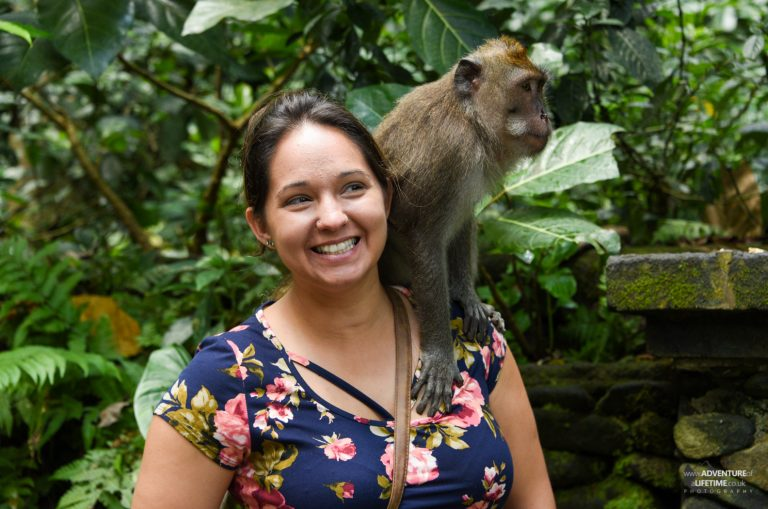Nichole and a Monkey in Ubud