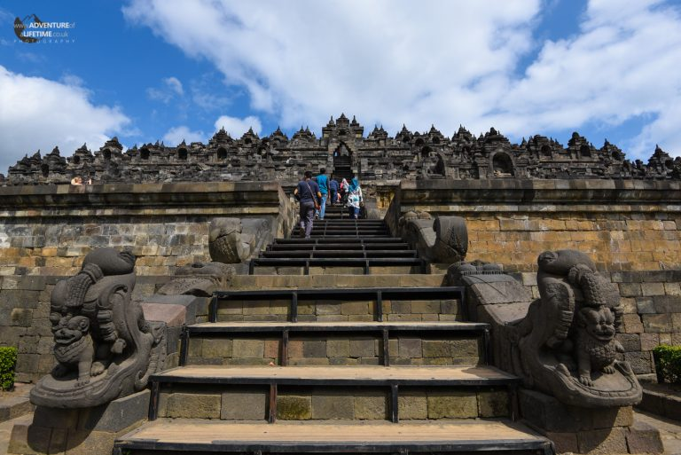 The steps leading to the top of Borobudur Temple, Java