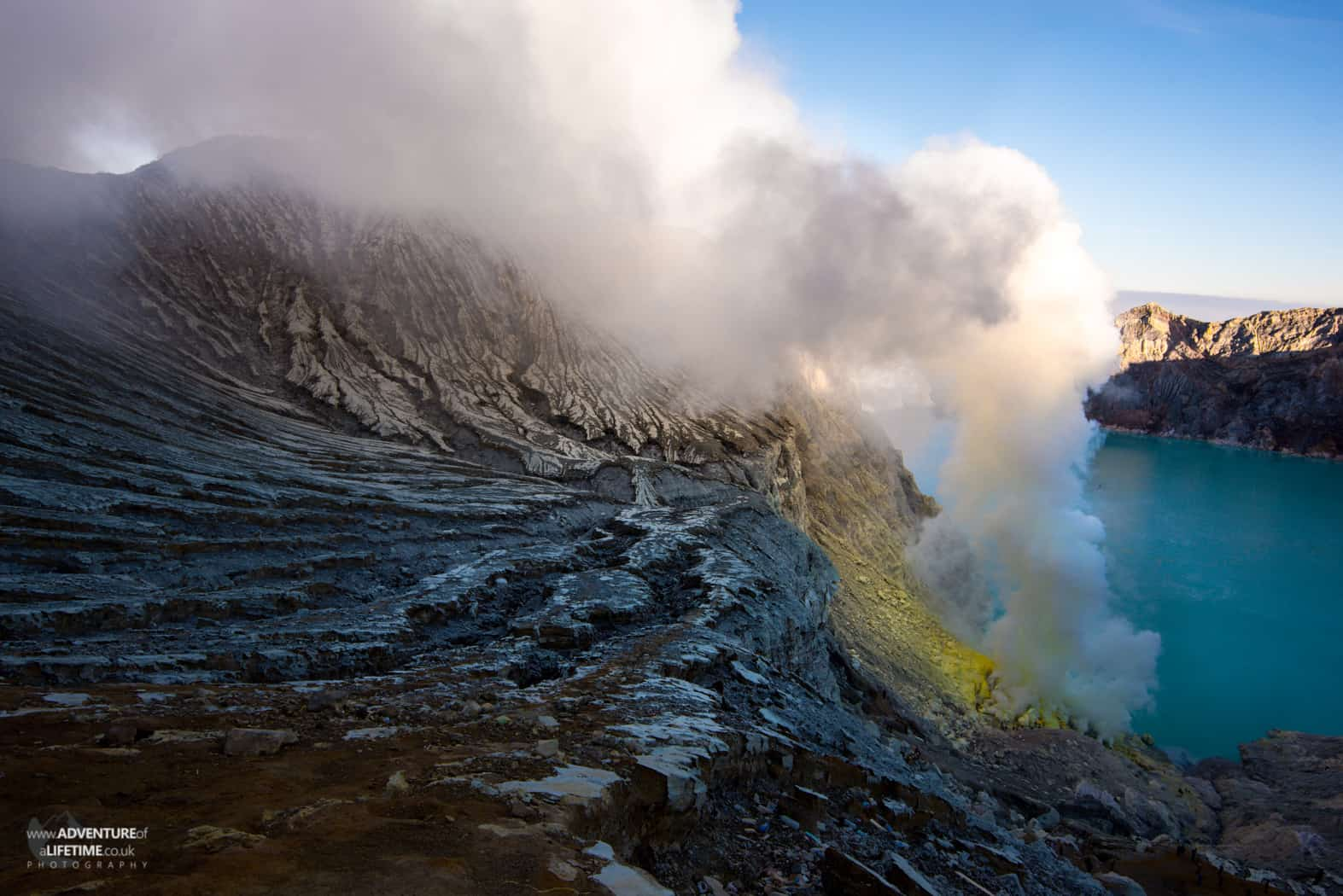 Smoke billows from the Sulphur Mine on Ijen volcano, Java