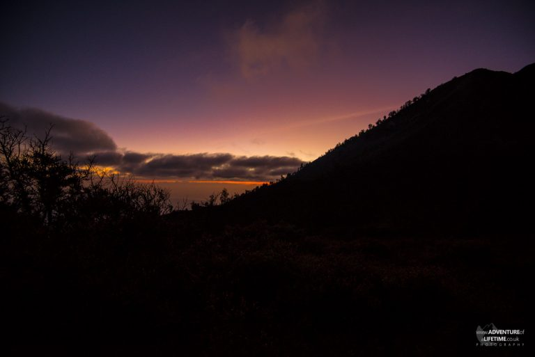 Sunrise from the top of Ijen volcano in Java