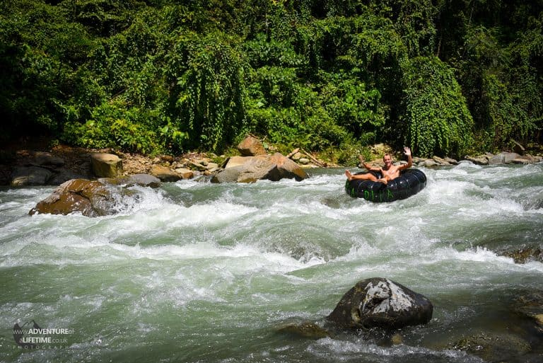 Michael Tubing on the Bahorok River, Sumatra