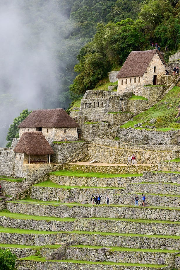 Machu Picchu huts and terrace